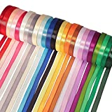 "Paxcoo 25 Colors Fabric Ribbon Silk Satin Roll 2/5"" for Crafts Sewing Gifts Hair Bows Wedding Decor"
