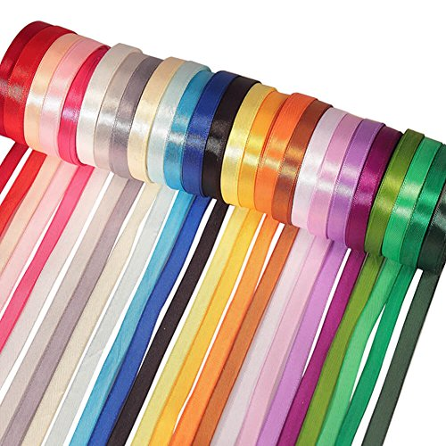 Paxcoo 25 Colors Fabric Ribbon Silk Satin Roll 2/5