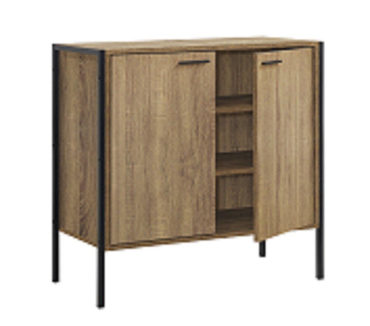 Timber Art Design Stretton Urban Dining Room 2 Door Sideboard Server Storage Unit Rustic Industrial Medium Oak Effect Timber Art Design UK
