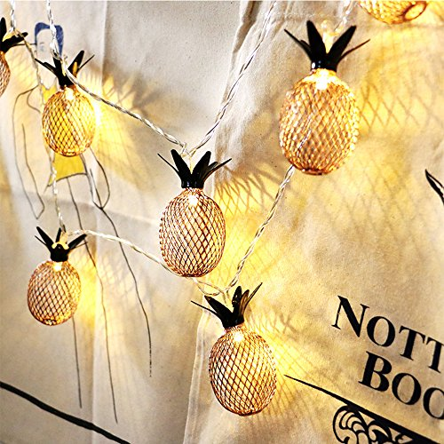 Stylish Glowing Pineapple Fairy String Lights Indoor & Outdoor Decorative Rope Light for Christmas Tree, Bedroom, Party, Patio,Garden,Wedding,Halloween-6.6ft 20 LED,Battery - Christmas Tree Pineapple