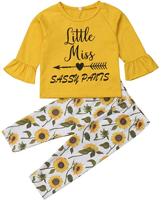 f4472de511f 2Pcs Toddler Baby Girl Yellow Clothes Little Miss Sassy Pants Tops Shirt+ Sunflower Leggings Outfits