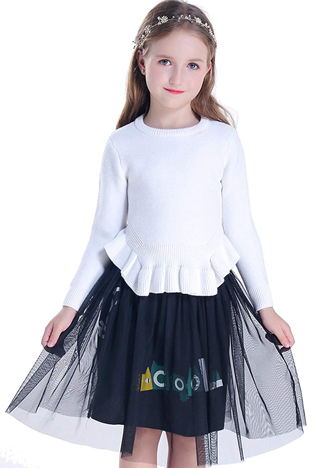 Winter Kid Girl Crewneck Pullover Knit Sweaters and Tulle Skirt Set