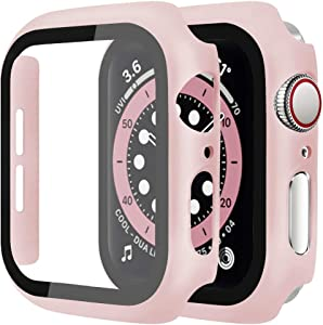 [2 Pack] Casok Hard Case Compatible with Apple Watch Series 3/2 / 1 42mm Built-in Tempered Glass Screen Protector, Full ProtectionCoverage Hard Cover for Series 3/2/1 (42mm, Pink)