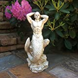16 in. Sexy Triton Merman Male Mermaid on Nautical Rock Antique White Beach and Pool Statue