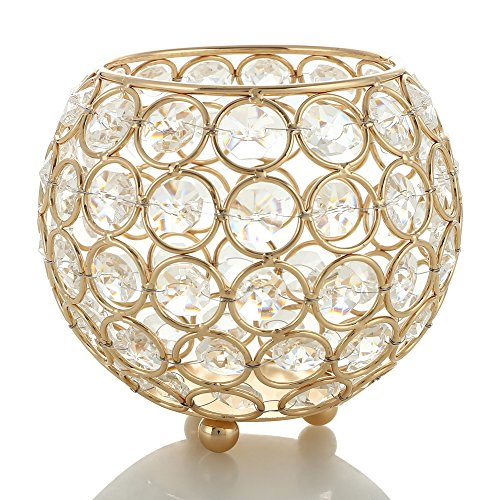 VINCIGANT Gold Crystal Votive Candle Holders For Home Decor Wedding Centerpieces Moroccan Lantern Bowl Jar Candelabra