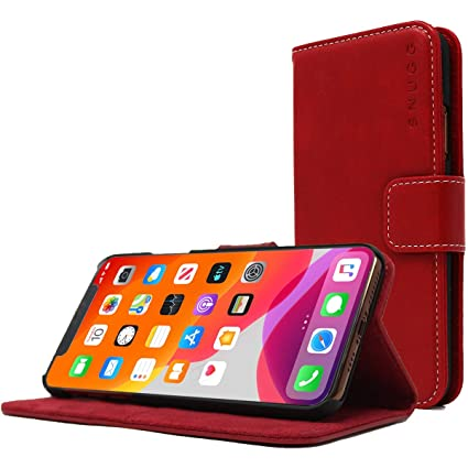 Snugg Iphone Xr Wallet Case Leather Card Case Wallet With Handy Stand Feature Legacy Series Flip Phone Case Cover In Dusty Cedar Red
