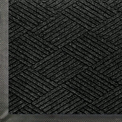 "Andersen 2295 WaterHog Eco Premier PET Polyester Fiber Entrance Indoor/Outdoor Floor Mat, SBR Rubber Backing, 4' Length x 3' Width, 3/8"" Thick, Black Smoke"