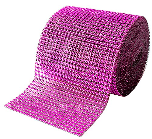 Pink Ribbon Wrap (Fuchsia (Pink) Diamond Sparkling Rhinestone Bling Wrap Ribbon Bulk Roll for Event Decorations, Wedding Cake, Bridal/Baby Shower, Birthdays, Arts & Crafts, Vase & Party Decor - 30 Ft - 1 Roll)
