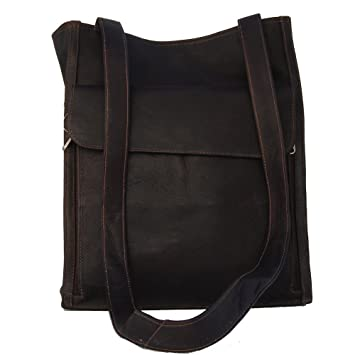 7d5aa2dc981 Amazon.com: Piel Leather Shoulder Tote Organizer, Chocolate, One ...