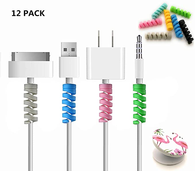 online retailer 8f354 bcf9d 12 +1 Lightning Cable Charger Protector/Flamingo Collapsible Grip Stand  Cable Saver   MacBook iPhone Micro USB Protector   PC/Notebook Charging  Cable ...
