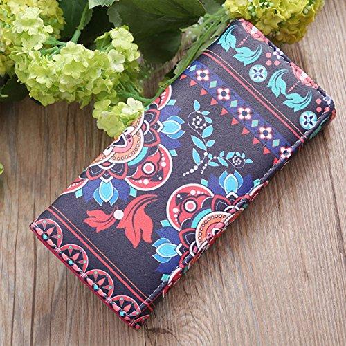 Amazingdeal365 Geldbörse Portemonnaie mit Ethno Blumen und Blüten Muster, Vintage Design (E) B