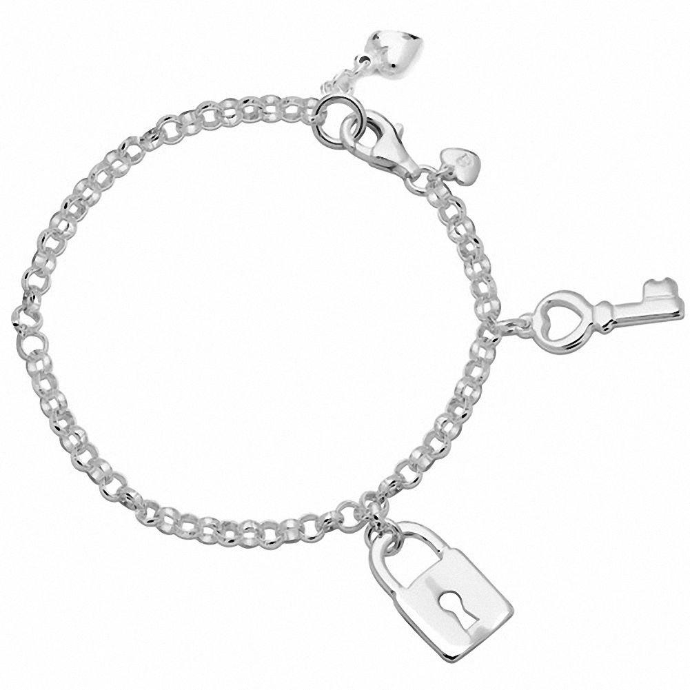 Amoro Polished 925 Sterling Silver Key and Lock Charm bracelet, 7.5''