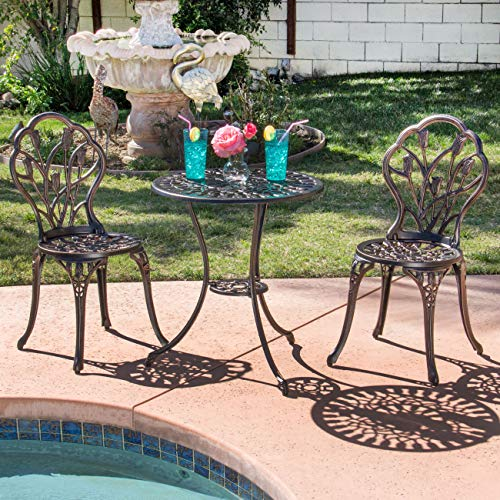 Cheap Best Choice Products Outdoor Patio Furniture Tulip Design Cast Aluminum 3 Piece Bistro Set in Antique Copper