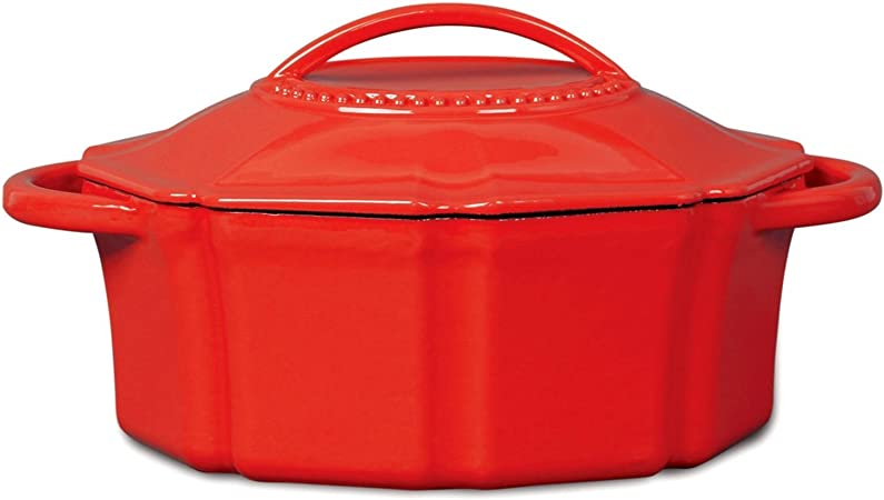Isaac Mizrahi 6 qt Cast Iron Dutch Oven with Lid – Red
