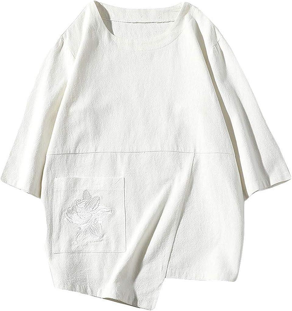 Alimao Mens Cotton Linen Short Sleeve Tunic//Top Tees Elastic Waist Causal Loose,Plain Summer T-Shirt Top Blouse Tunics Tops