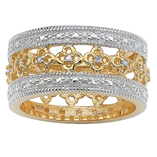 White Diamond 18k Gold over .925 Silver Filigree Eternity Band (.13 cttw, J Color, I3 Clarity)