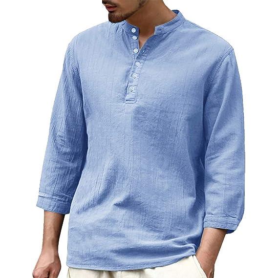 hibote Camisa Hombre Blusa Suelta Casual Transpirable Top de Manga 3/4 Camisas Sin Cuello de Color Sólido Blusas de Trabajo S M L XL 2XL: Amazon.es: Ropa y accesorios