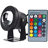 Remote Control 10w 12v Water resistant RGB Underwater Light Lamp for Landscape Fountain Pond Lighting Outdoor Security Color Changing LED Light with 24Key Remote Control (Black)