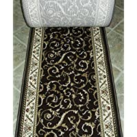 150280 - Rug Depot Radici Como 1599 Brown Traditional Hall and Stair Runner - 26 Wide Hallway Rug Runner - Custom Sizing - Brown Background - Choose Your Length - 26 x 16 feet