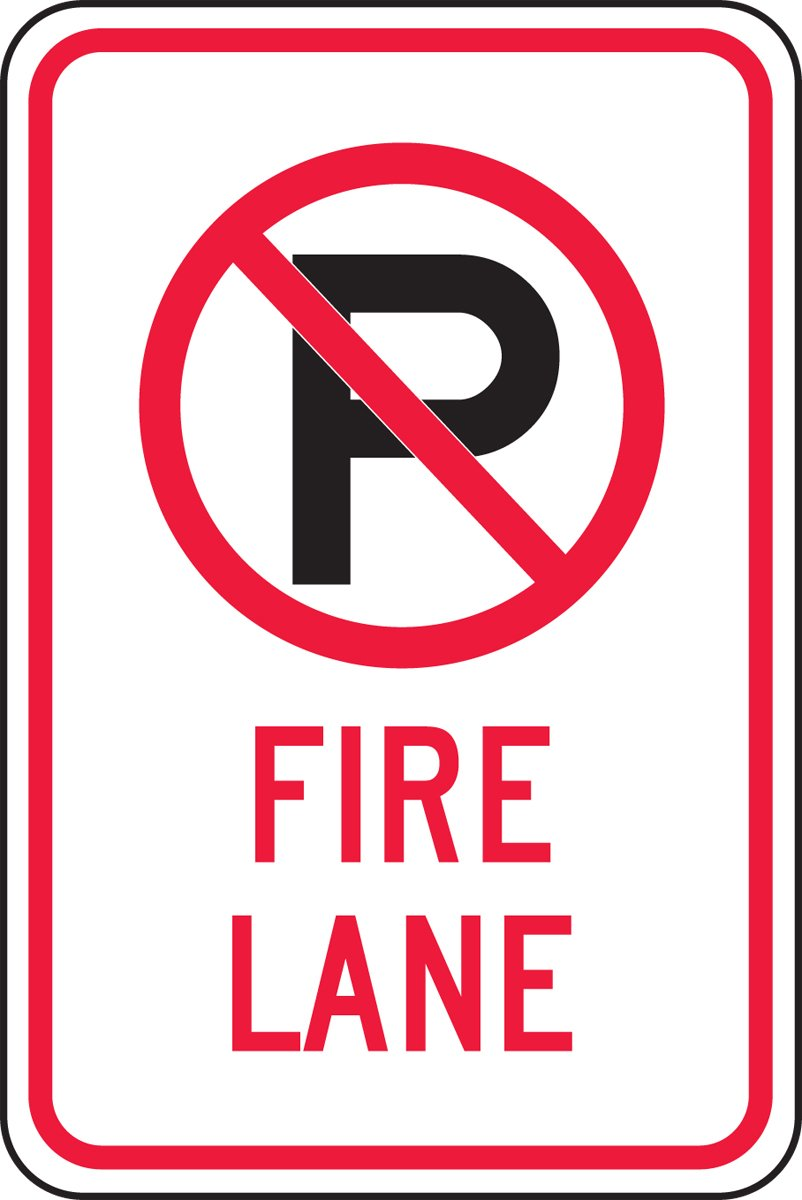 Accuform Signs FRP405RA Engineer-Grade Reflective Aluminum Parking Sign, Legend''(NO Parking) FIRE Lane'', 18'' Length x 12'' Width x 0.080'' Thickness, Red/Black on White