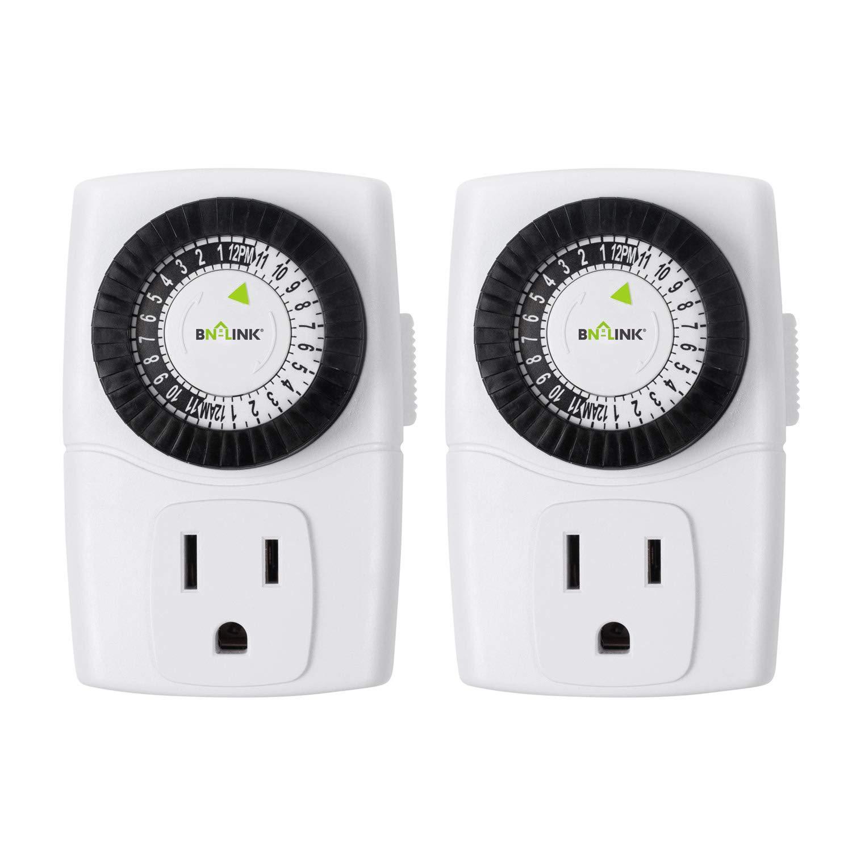 BN-LINK BND-60/U47 Indoor Mini 24-Hour Mechanical Outlet Timer, 3-Prong, 2-Pack by BN-LINK