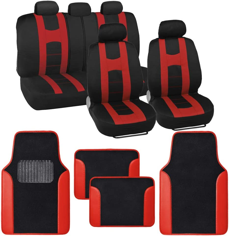 with Heavy Protection Sleek Graphic Two Tone Fresh Design All Protective 2 Front 1 Bench Blue Accent BDK Combo Sport Accent Car Seat Covers Auto Carpet Floor Mats 4 Set