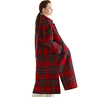 A & W Abrigo de Cachemira a Cuadros, Largo otoño e Invierno Ropa de Mujer Cosida a Mano, Ropa de Lana de Las Mujeres de Abrigo,Red,M: Hogar