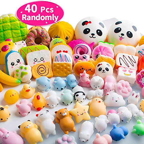 40PCS MOMOTOYS Squishies Mochi Mini Squishies Toys 20 Kawaii Food Squishy 20 Animal Pinata Mochi Squeeze Stress Relief Relievers Unicorn Kids Party Favor Easter Eggs Fillers Basket Stuffers Toys Gifts -