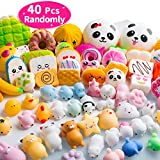 40PCS MOMOTOYS Squishies Mochi Squishies Mini Squishies Toys 20 Kawaii Food Squishies 20 Animal Mochi Stress Relief Toys Squeeze Toys Party Favor Mochi Unicorn Bear Panda Novelty Gifts