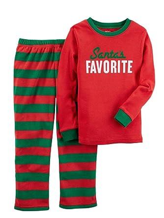 Toddler Carters Santas Favorite Top   Striped Fleece Pants Pajama Set ... a3cef2d65