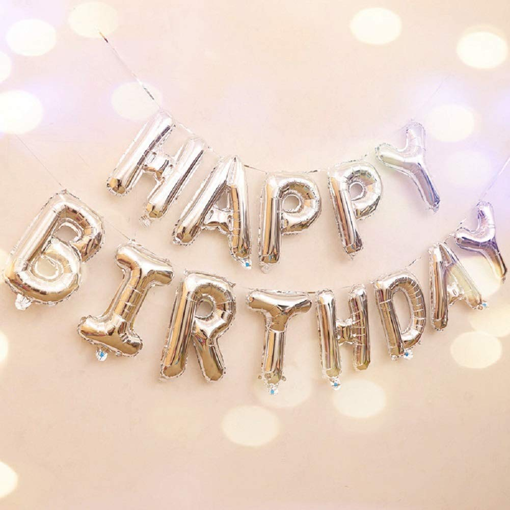 Conniecony Happy Birthday Balloons,16 inch Happy Birthday Alphabet Banner Foil Balloons Mylar Balloons for Birthday Decorations and Party Supplies (Silver)