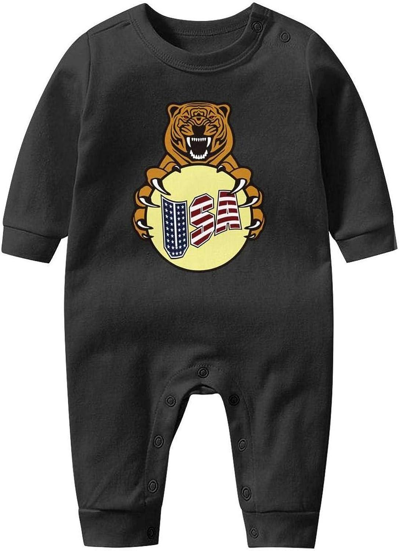 USA Flag Tiger Bear Cool Newborn Crawling Suit Lone-Sleeved Romper Bodysuit