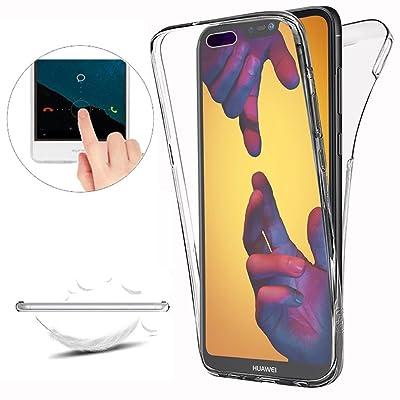 Funda Huawei P20 Lite,Carcasas [Nueva Versión] Huawei P20 Lite [Cover 360 Grados] ,Funda Doble Delantera + Trasera Gel Transparente Silicona Integral Shock Absorción Anti Rasguños Anti Choque Bumper Prote