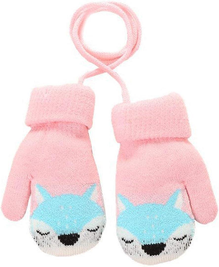 Pour lhiver Gants pour enfants sur ficelle Mignon renard en tricot Pour enfants de 1 /à 4 ans Rose Chauds En cachemire