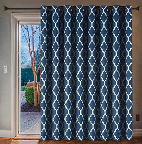 dth Thermal Insulated Blackout Curtain - Antique Copper Grommet Patio Curtain - Moroccan Tile Quatrefoil Pattern in Navy - 100