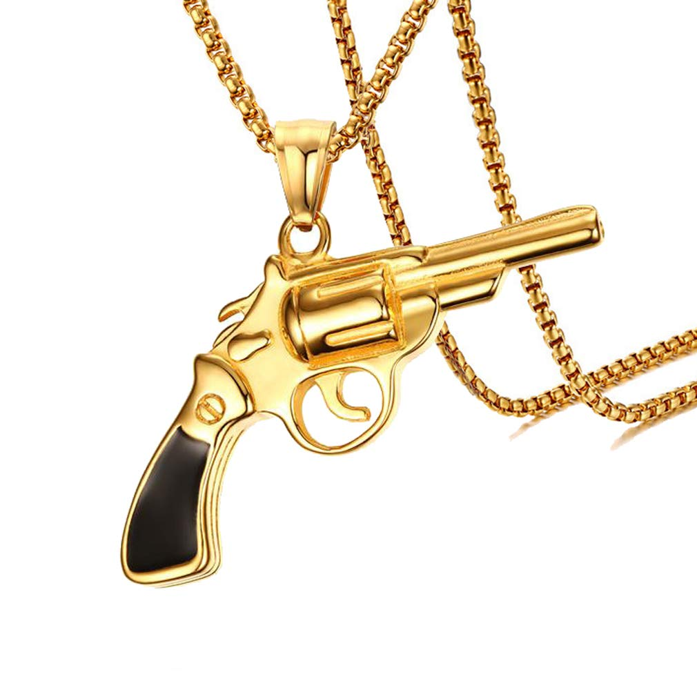 Xusamss Hip Hop Titanium Steel Revolver Gun Tag Pendant Necklace,22inches  Chain