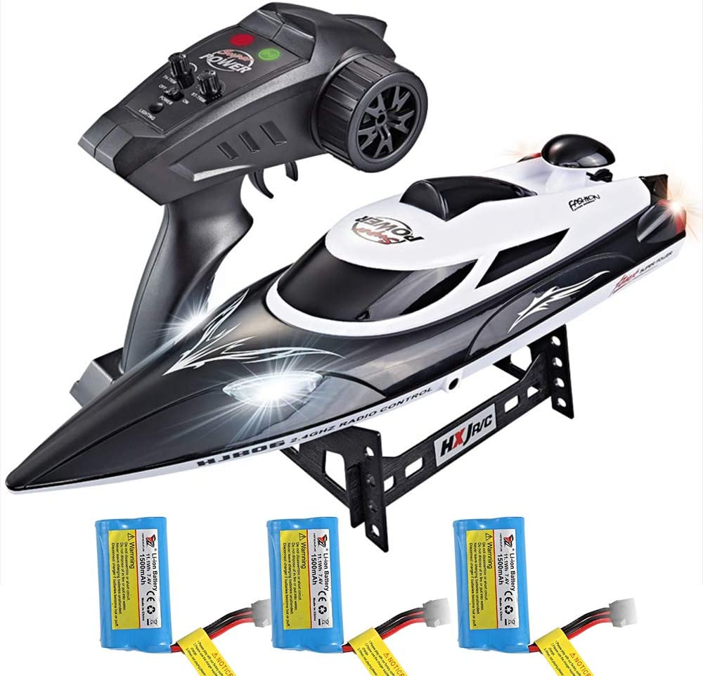 ElementDigital HJ806 RC Boat 2.4GHz 35km/h Fast Remote Control Speedboat with 3 Batteries Professional RC Boat 200m Control Distance for Kids and Adults