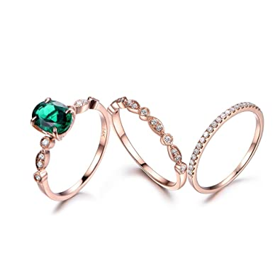 9279978f86206e Amazon.com: MYRAYGEM-wedding ring sets 3pcs Synthetic Green Emerald Ring Set,6x8mm  Oval Vintage Band,14k Rose Gold Diamond Bridal Band Propose: MYRAYGEM: ...