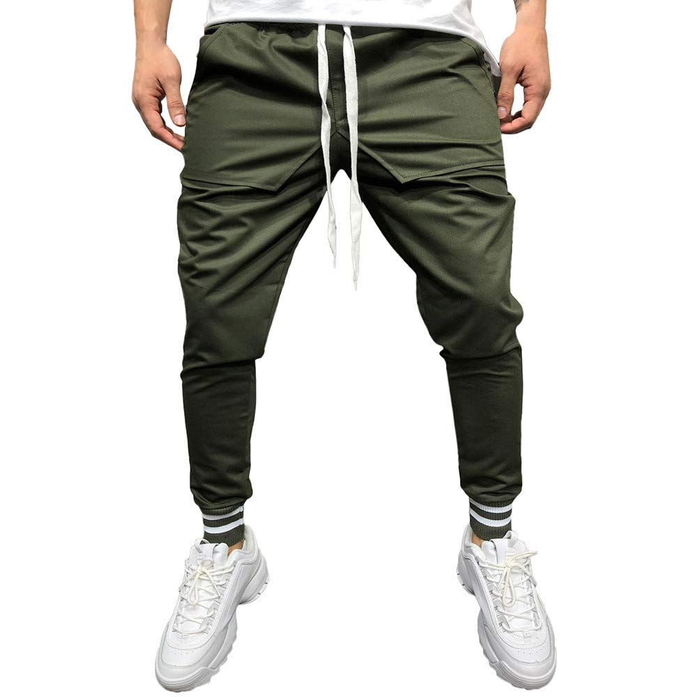 Wkgre Fashion Men's Casual Stitching Solid feet Sports Trousers Loose Patchwork Pocket Sweatpant Trousers Jogger Pant (M, Army Green)