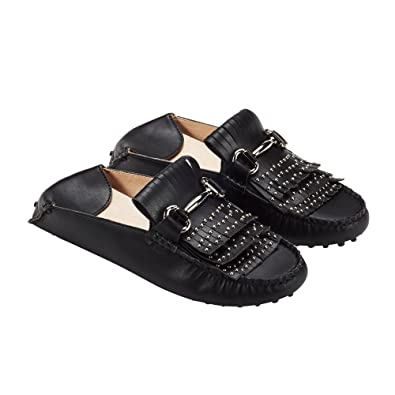 401ac6327c3 jenn ardor Women s Convertible Slip On Loafers Slides Tassel Driving  Moccasin Leather Smoking Flat Shoes