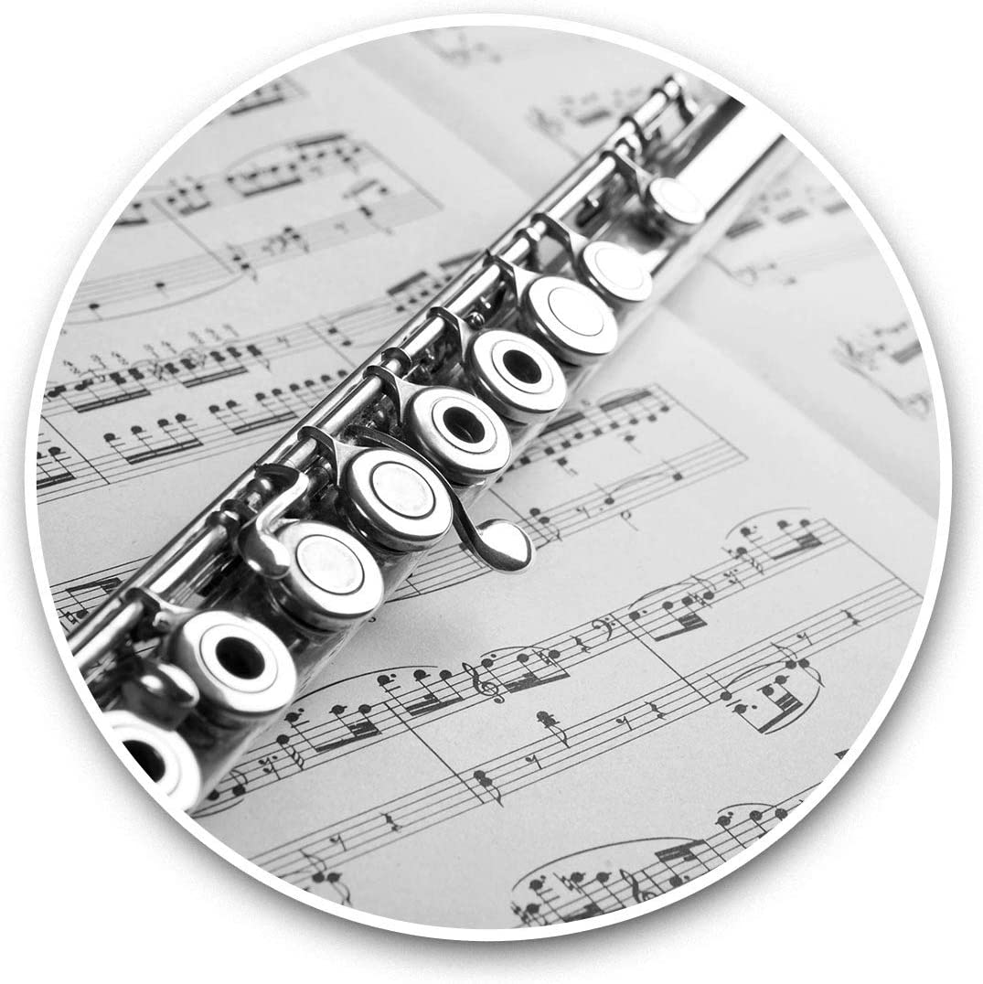 Vinyl Stickers (Set of 2) 15cm Black & White - Flute Instrument Music Laptop Luggage Tablet #38092