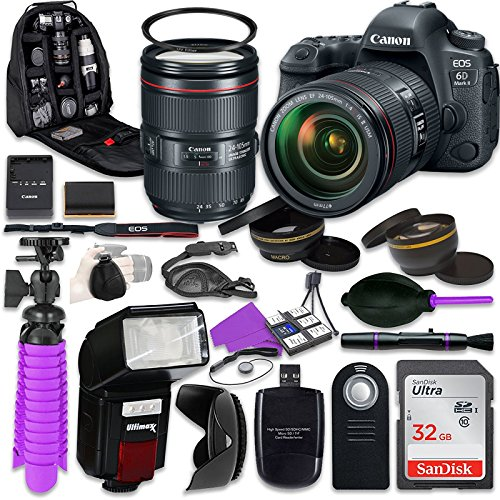 Canon 6D Mark II DSLR Camera with Canon EF 24-105mm f/4L IS II USM Lens, Auxiliary Panoramic and Telephoto Lenses, 32GB Memory + Accessory Bundle