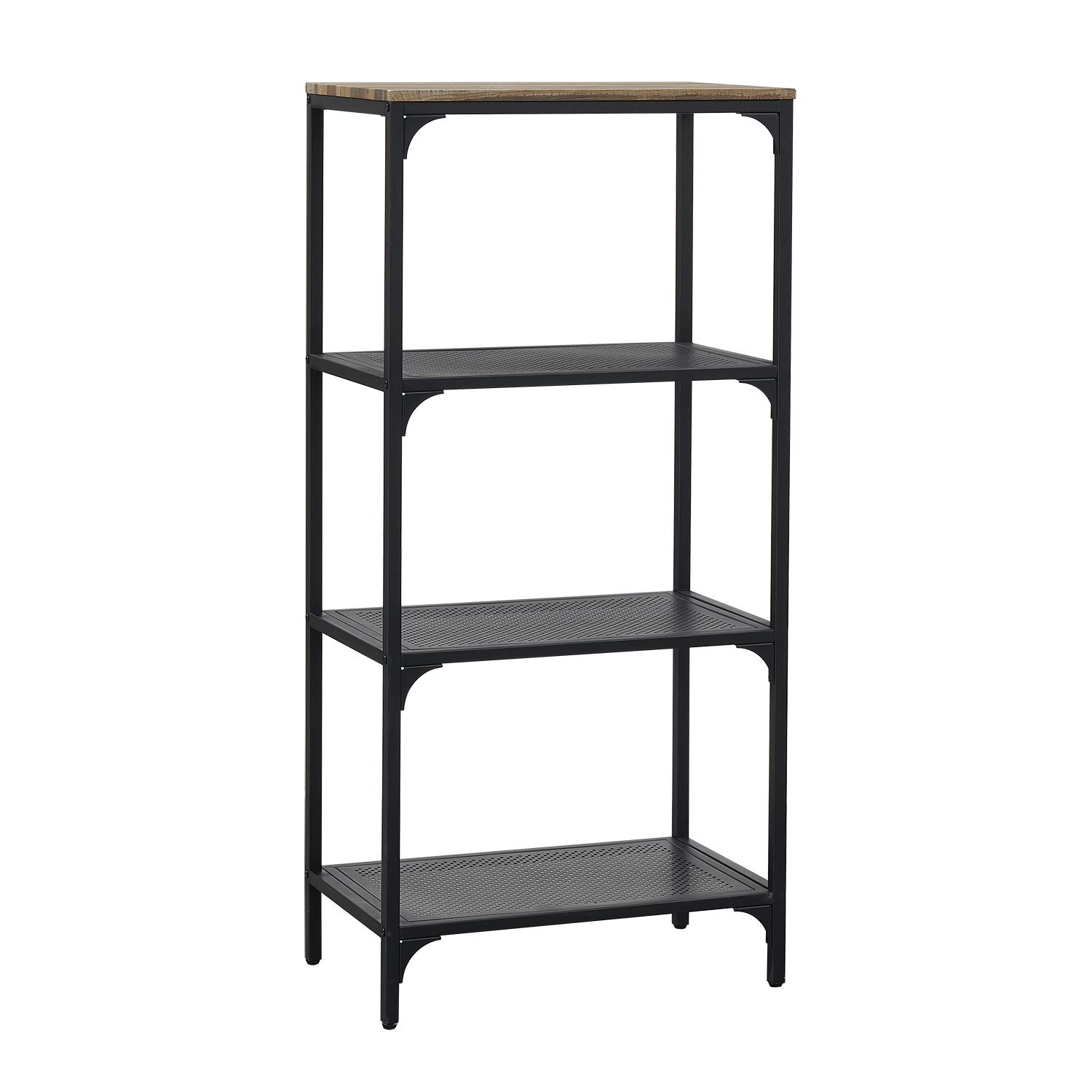HOMYSHOPY 4-Tier Industrial Bookshelf Open Wide Office Etagere Bookcase Storage Display Shelves for Home and Office, 23.6 W x 14 D x 49.8 H, Vintage Brown