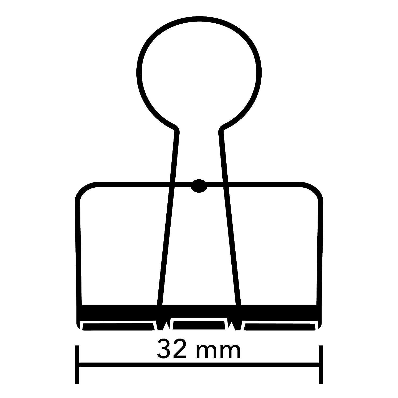 2-St/ück Farbe: Silber Premium Qualit/ät Papier Clips Wire Clip purepaper Foldback-Klammer 32mm