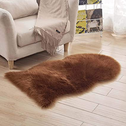 DADAO Sheepskin Chair Cover Seat Cushion Pad,Soft Faux Area Rugs Australian Imitation Wool Leather