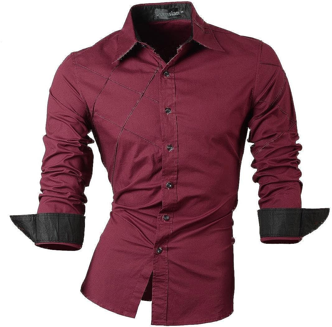 Jeansian Herren Freizeit Hemden Shirt Tops Mode Langarmlig Men's Casual Dress Slim Fit 2028 MFN_2028