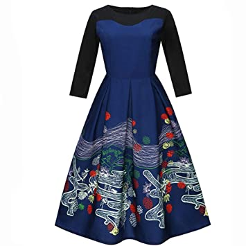 Women Flora Printing Three Quarter Casual Evening Party Prom Swing Dress@Cocktail Dresses for Women