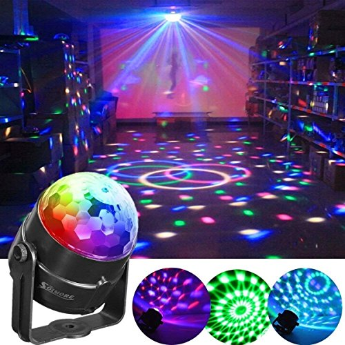 (Party Ball Lights,SOLMORE 5W RGB Sound Activated Rotating Crystal DJ Disco Ball Lights Stage Lights Effect Show Light for Kids Room Dancing Wedding Birthday Parties Gifts Bar Celebration KTV Club Pub)