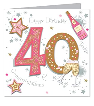 Large Luxury Handmade 40th Birthday Card