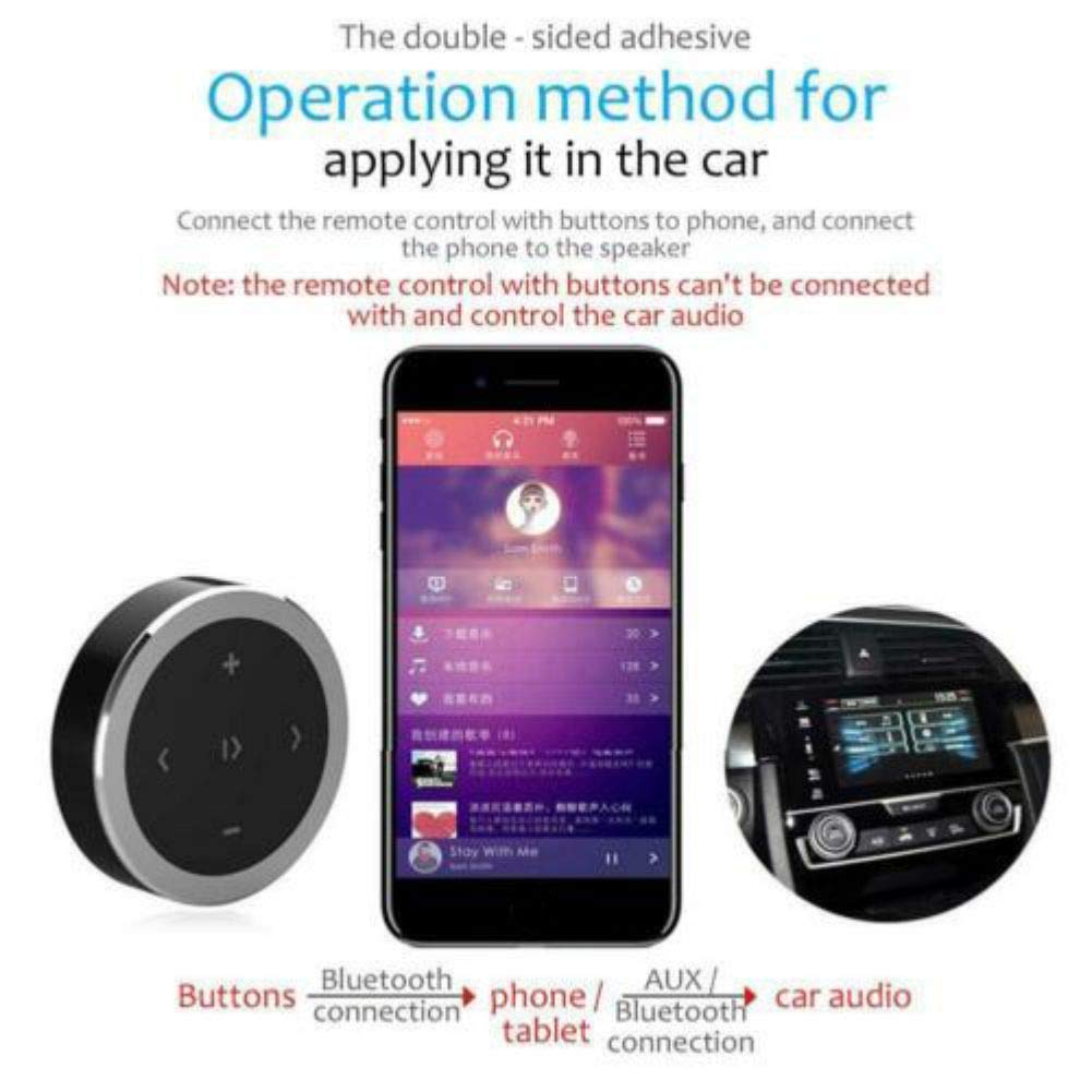 weixinbuy Bot/ón Multimedia Bluetooth Bot/ón de Medios inal/ámbricos Bluetooth Volante Mando a Distancia para Android iOS Smartphone